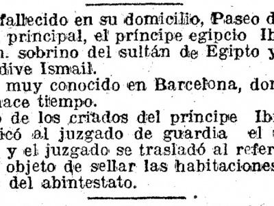 Notícia de la defunció del príncep Ibrahim Hassan. La Vanguardia, 28 d'octubre de 1918