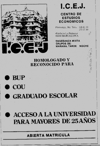 Anunci ICEJ (Instituto de Ciencias Económicas i Jurídicas).
