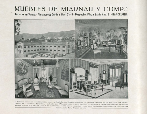 "View of the ""Gache apartment"" lounge. Photograph published in Barcelona Artística e Industrial, 1914."