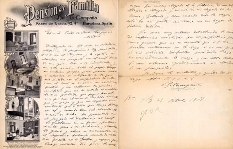 Carta del propietari de la Pensió, G. Campaña, escrita el 25 d'octubre de 1918.