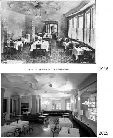 A la primera fotografia es pot apreciar el detall del menjador de la Pensión Hispano-Americana i, a sota, el mateix espai a l'actualitat.  La sala es distingeix sobretot pel sostre, ja que la paret de l'esquerra —que taparia les columnes— ja no hi és, així com les portes corredisses que es veuen al fons. També s'hi pot apreciar la decoració floral de les parets.
