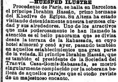 «Huésped ilustre», La Vanguardia, 1 de octubre de 1911