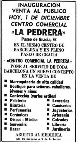 Advertisement. La Vanguardia newspaper, 1 December 1976