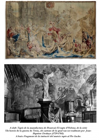 "Top: Beauvais tapestry of  The Rape of Helen from the series  Heroes of the Trojan War,  the cartoons were drawn by Jean-Baptiste Deshays (1729-1765).  Bottom: Fragment of the  reproduction in the ""Gache apartment"""