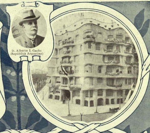 Portrait of Alberto I. Gache next to the Casa Milà. Revista Comercial Iberoamericana, march 1912.