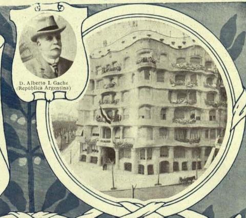 Retrat d'Alberto I. Gache al costat de la Casa Milà. Il•lustració extreta de les pàgines de Mercurio: Revista Comercial Iberoamericana. Barcelona, març de 1912.