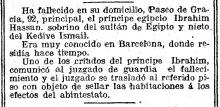 Noticia de la defunción del príncipe Ibrahim Hassan. La Vanguardia, 28 de octubre de 1918
